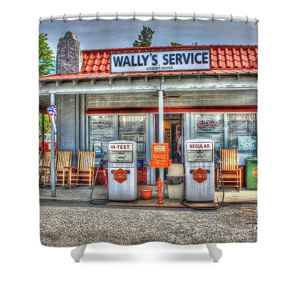 Wally's Service Station Shower Curtain by Dan Stone