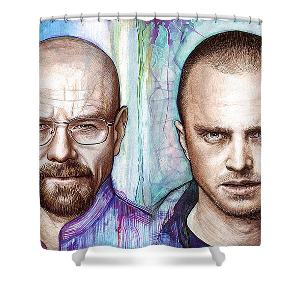 Walter And Jesse - Breaking Bad Shower Curtain by Olga Shvartsur
