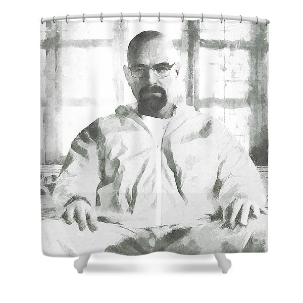 Walter White Breaking Bad drawing Shower Curtain by Pixel Chimp