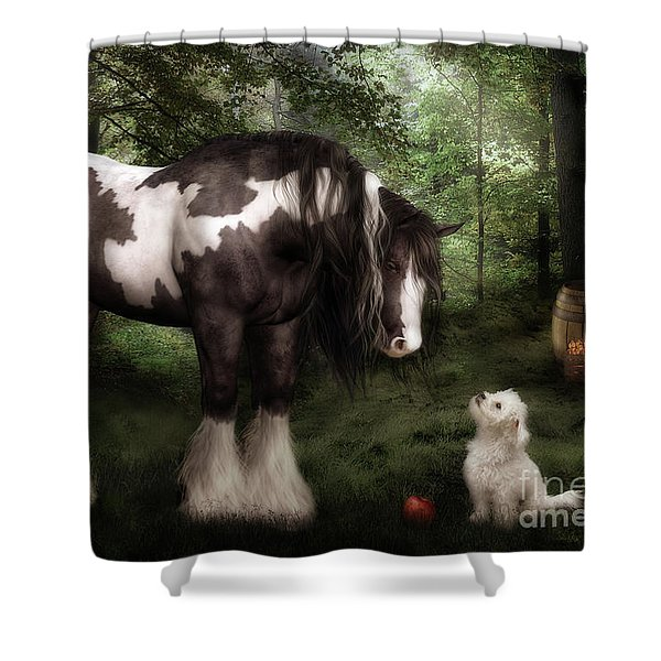 Want to Play Shower Curtain by Shanina Conway