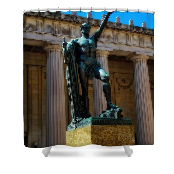 War Memorial Statue Youth In Nashville Shower Curtain by Dan Sproul
