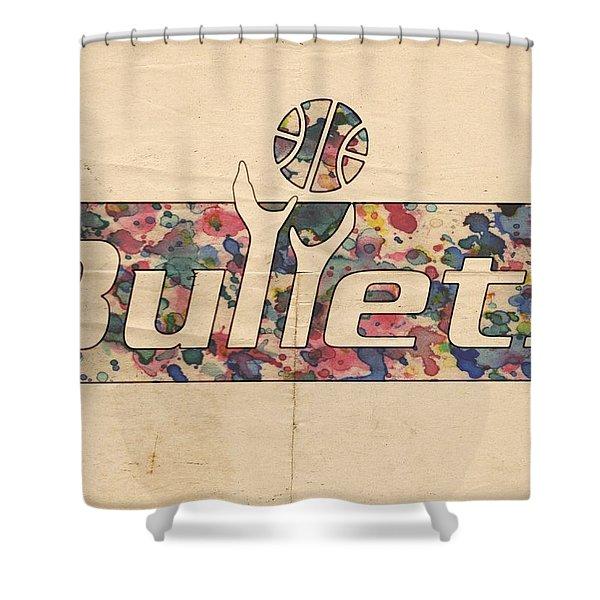 Washington Bullets Retro Poster Shower Curtain by Florian Rodarte