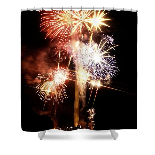 Washington Monument Fireworks 2 Shower Curtain by Stuart Litoff