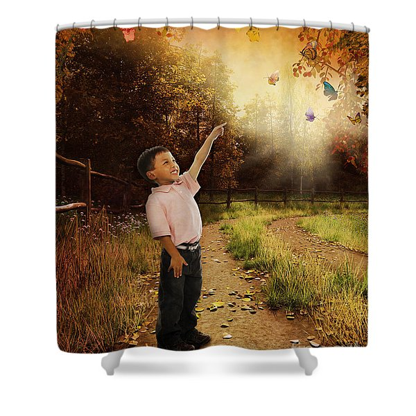 Watching Butterflies Shower Curtain by Bedros Awak