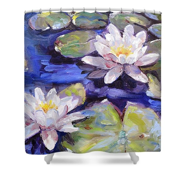 Water Lilies Shower Curtain by Donna Tuten
