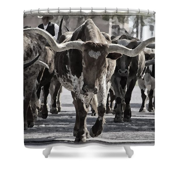 Watercolor Longhorns Shower Curtain by Joan Carroll