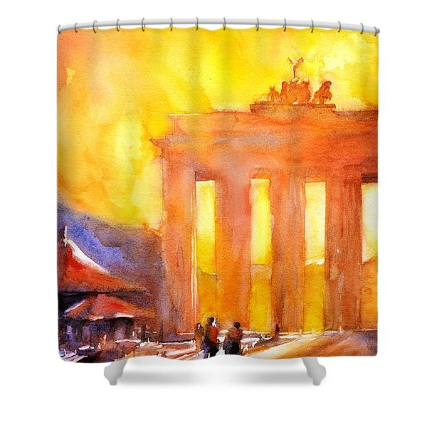 Watercolor Painting Of Brandenburg Gate Berlin Germany Shower Curtain by Ryan Fox