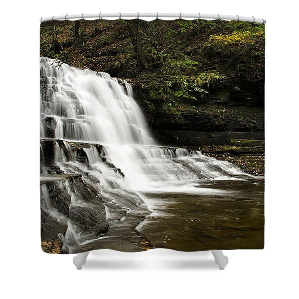 Waterfall Cascade Shower Curtain by Christina Rollo