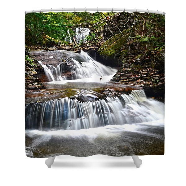 Waterfall Oasis Shower Curtain by Frozen in Time Fine Art Photography