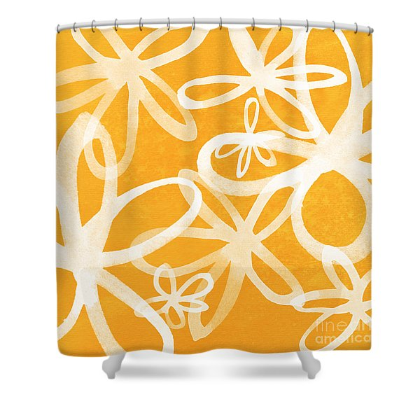 Waterflowers- orange and white Shower Curtain by Linda Woods