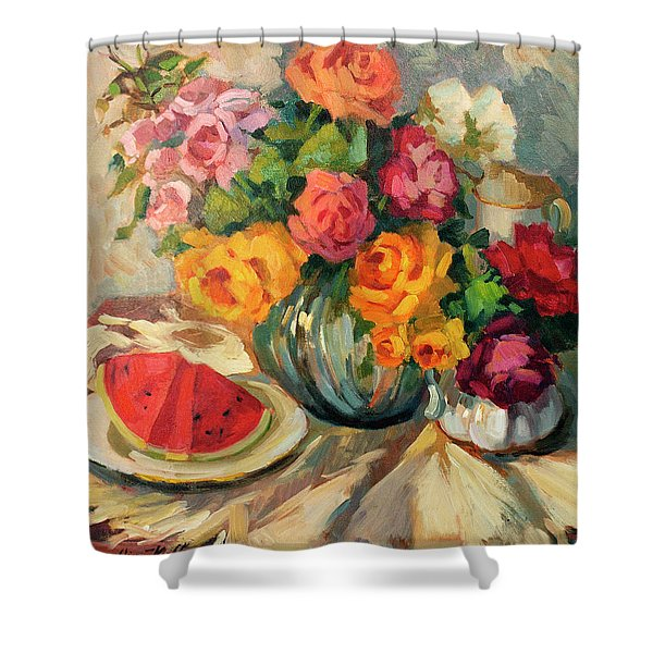 Watermelon And Roses Shower Curtain by Diane McClary