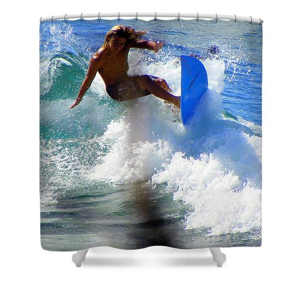 Wave Rider Shower Curtain by KAREN WILES