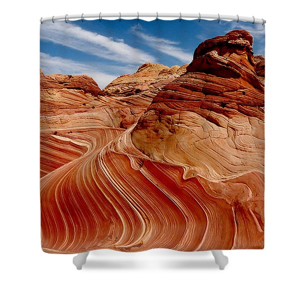 Waves Of Time Shower Curtain by Alan Socolik