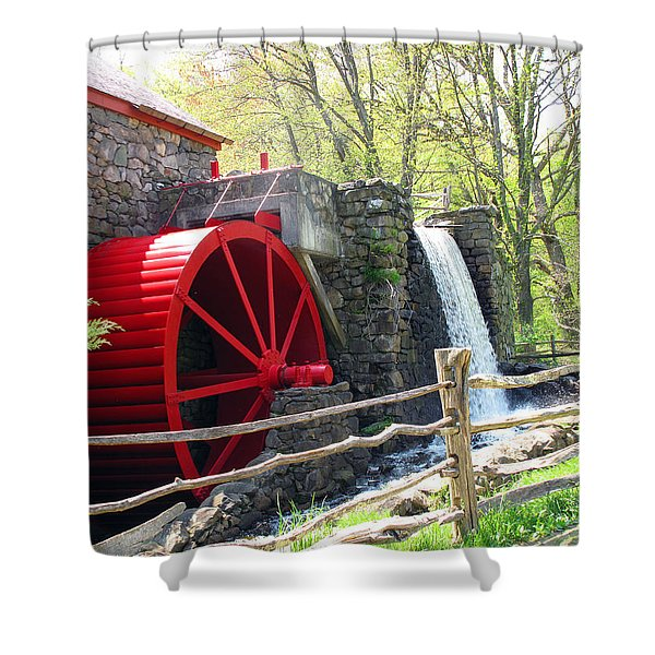 Wayside Inn Grist Mill Shower Curtain by Barbara McDevitt
