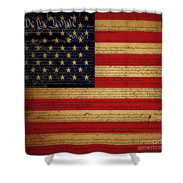 We The People - The US Constitution with Flag - square v2 Shower Curtain by Wingsdomain Art and Photography