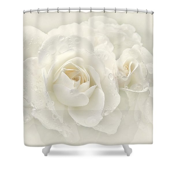 Wedding Day White Roses Shower Curtain by Jennie Marie Schell
