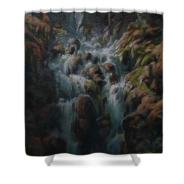 Weeping Rocks Shower Curtain by Mia DeLode