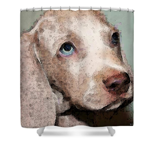 Weimaraner Dog Art - Forgive Me Shower Curtain by Sharon Cummings