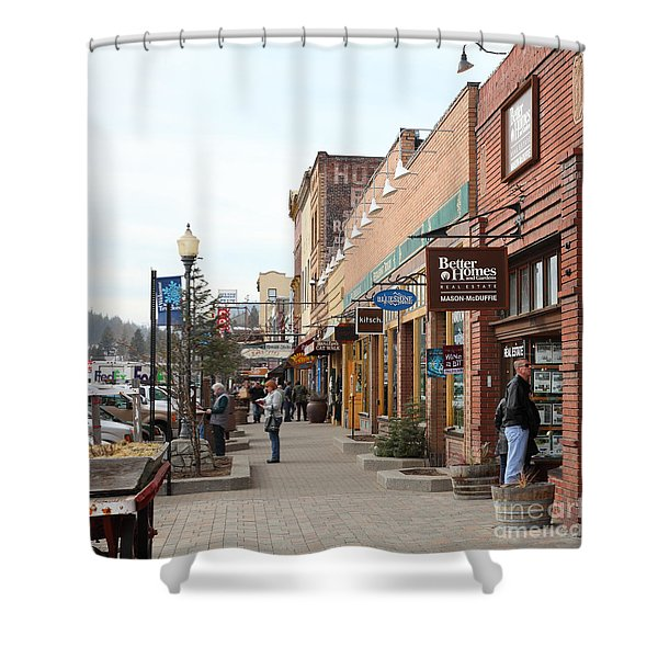 Welcome To Truckee California 5D27445 square Shower Curtain by Wingsdomain Art and Photography