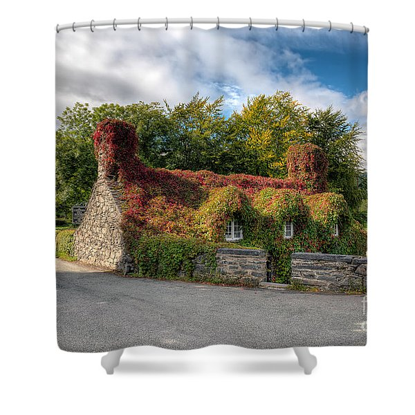 Welsh Cottage Shower Curtain by Adrian Evans