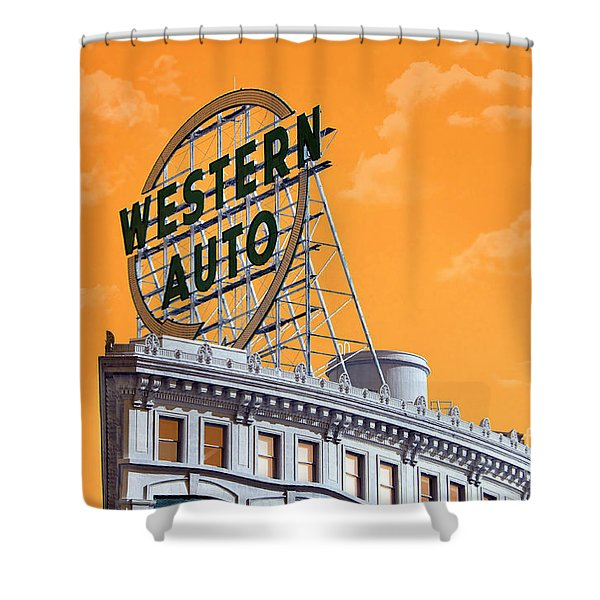 Western Auto Sign Artistic Sky Shower Curtain by Andee Design