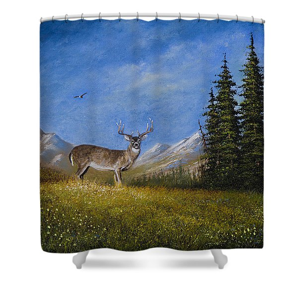 Western Whitetail Shower Curtain by C Steele