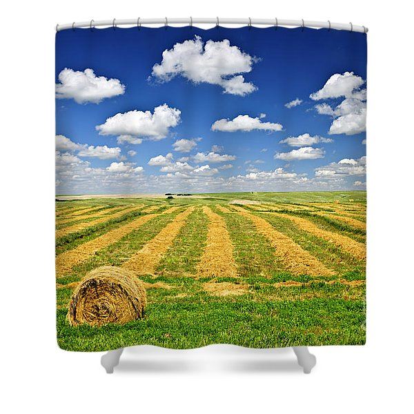 Wheat farm field and hay bales at harvest in Saskatchewan Shower Curtain by Elena Elisseeva