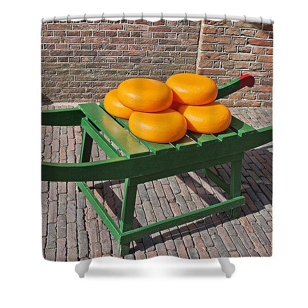 Wheels of Dutch Gouda Cheese Shower Curtain by Artur Bogacki