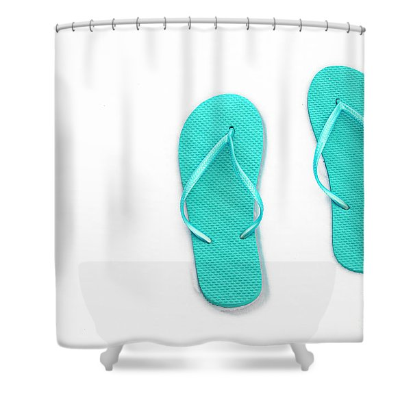 Where On Earth Is Spring - My Aqua Flip Flops Are Waiting Shower Curtain by Andee Design