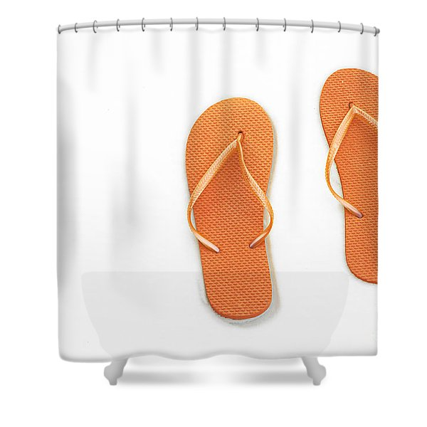 Where On Earth Is Spring - My Orange Flip Flops Are Waiting Shower Curtain by Andee Design