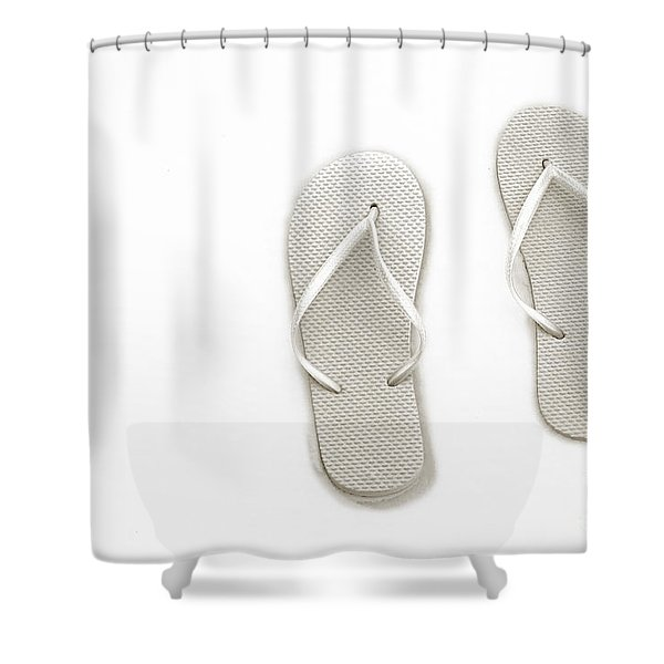 Where On Earth Is Spring - My Silver Flip Flops Are Waiting Shower Curtain by Andee Design