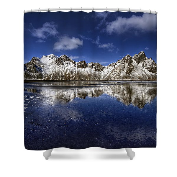 Where The Mountains Meet The Sky Shower Curtain by Evelina Kremsdorf