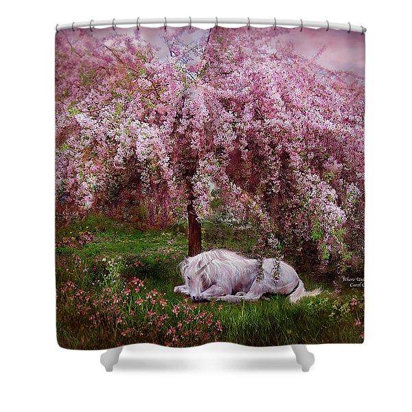 Where Unicorn's Dream Shower Curtain by Carol Cavalaris