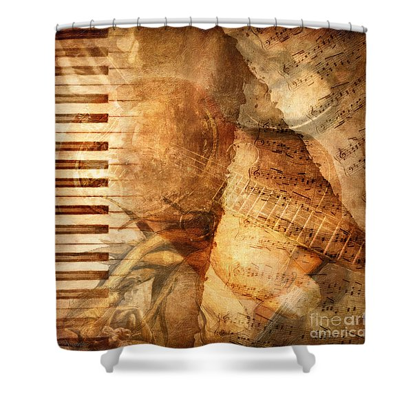 While My Guitar Gently Weeps Shower Curtain by Lianne Schneider