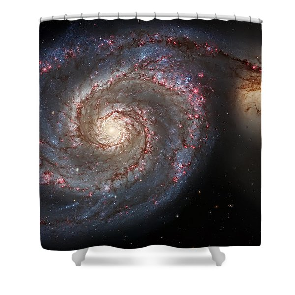 Whirlpool Galaxy 2 Shower Curtain by The  Vault - Jennifer Rondinelli Reilly