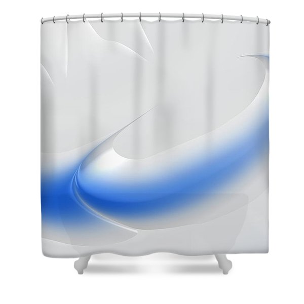 White And Blue Abstract Art Decorative Winter Color Theme Shower Curtain by Matthias Hauser