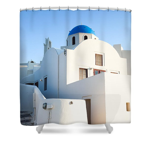 White buildings and blue church in Oia Santorini Greece Shower Curtain by Matteo Colombo