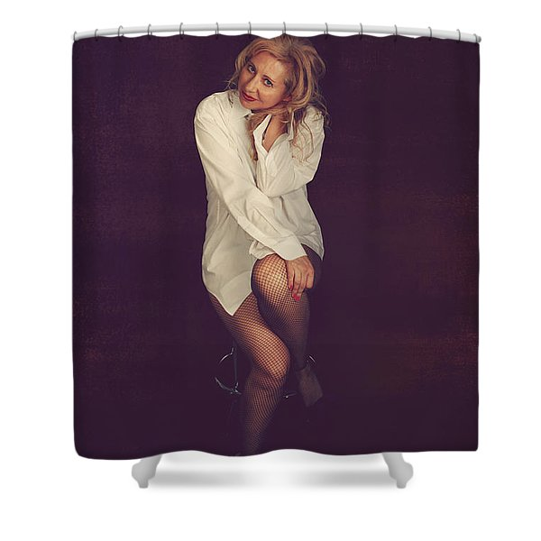 White Button-Down Shower Curtain by Laurie Search