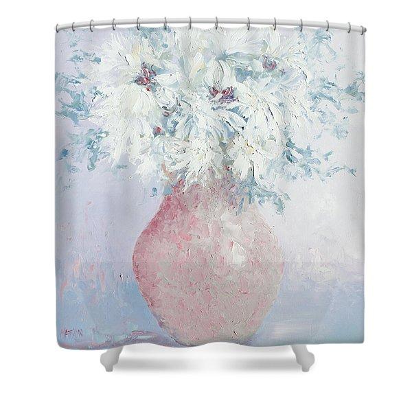 White Chrysanthemums Shower Curtain by Jan Matson