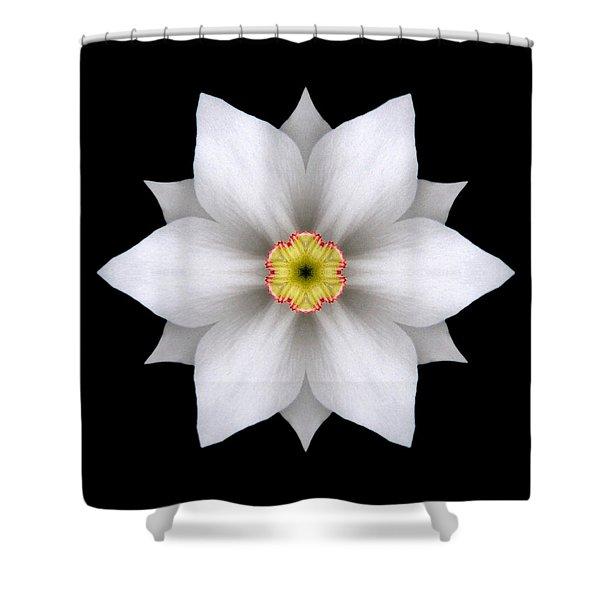 White Daffodil II Flower Mandala Shower Curtain by David J Bookbinder