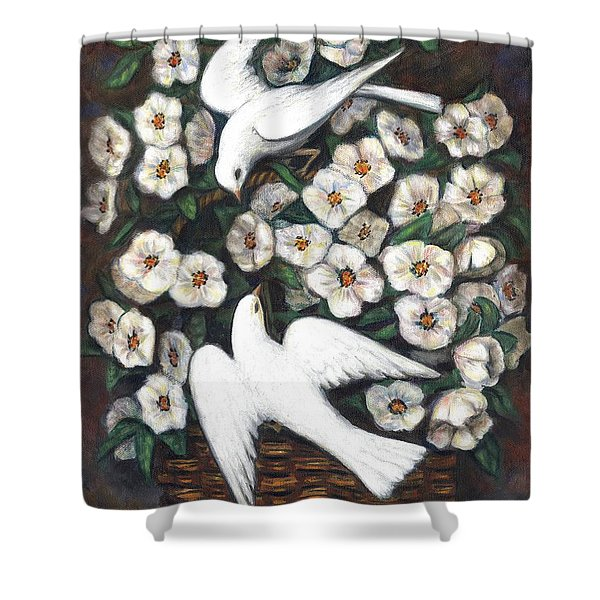 White On White Shower Curtain by Linda Mears