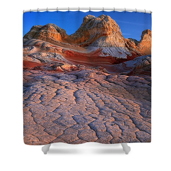White Pocket Afterglow Shower Curtain by Inge Johnsson