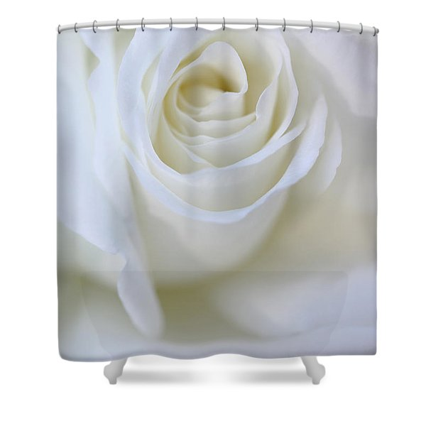 White Rose Floral Whispers Shower Curtain by Jennie Marie Schell