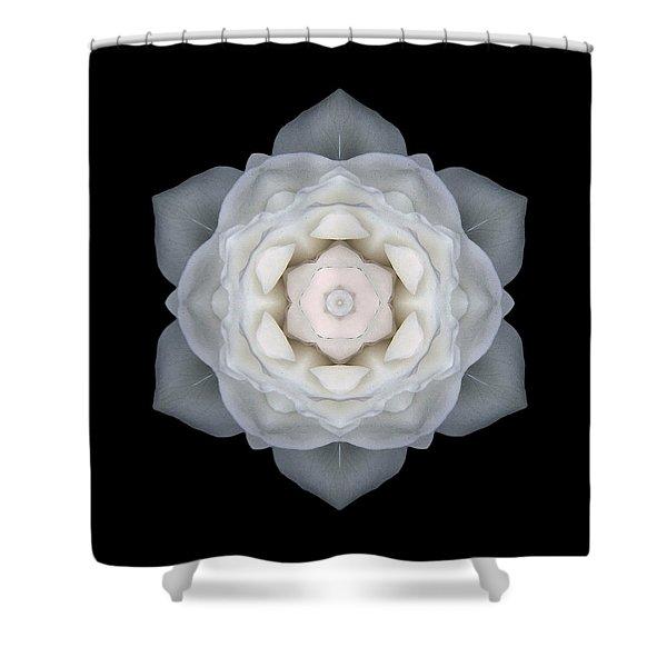 White Rose I Flower Mandala Shower Curtain by David J Bookbinder