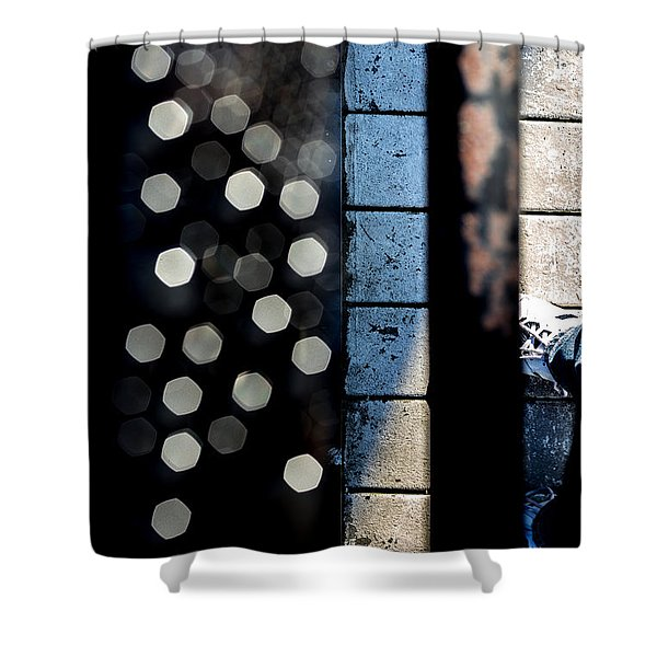 White Sneakers On The Edge Shower Curtain by Bob Orsillo