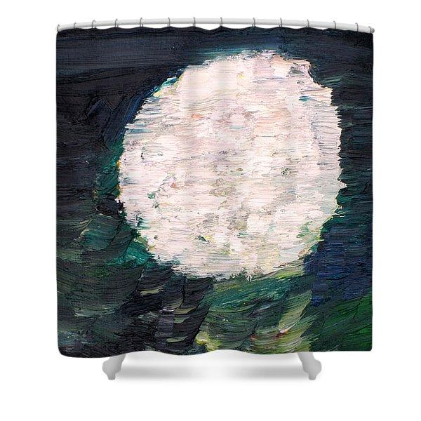 White Sphere Shower Curtain by Fabrizio Cassetta