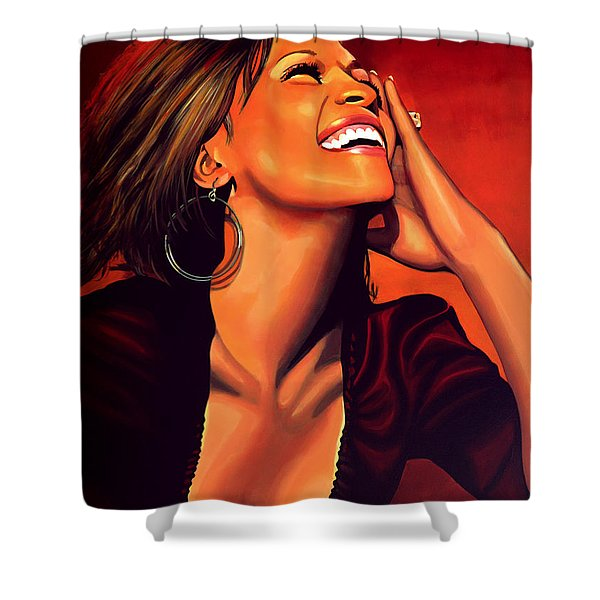 Whitney Houston Shower Curtain by Paul Meijering