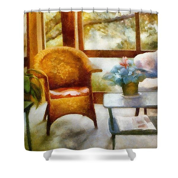 Wicker Chair and Cyclamen Shower Curtain by Michelle Calkins