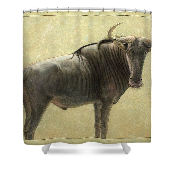 Wildebeest Shower Curtain by James W Johnson