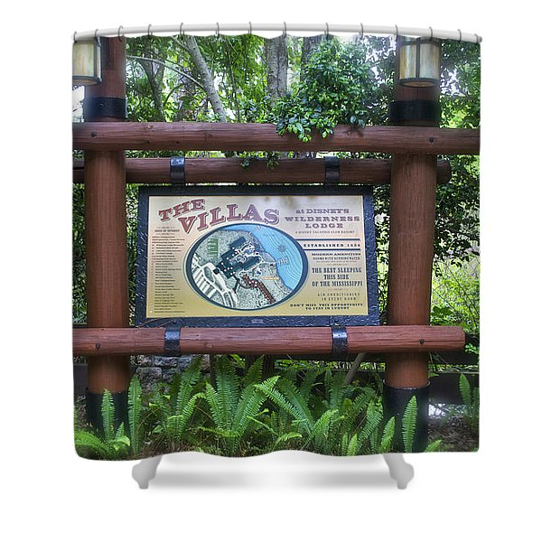 Wilderness Lodge Sign Shower Curtain by Thomas Woolworth